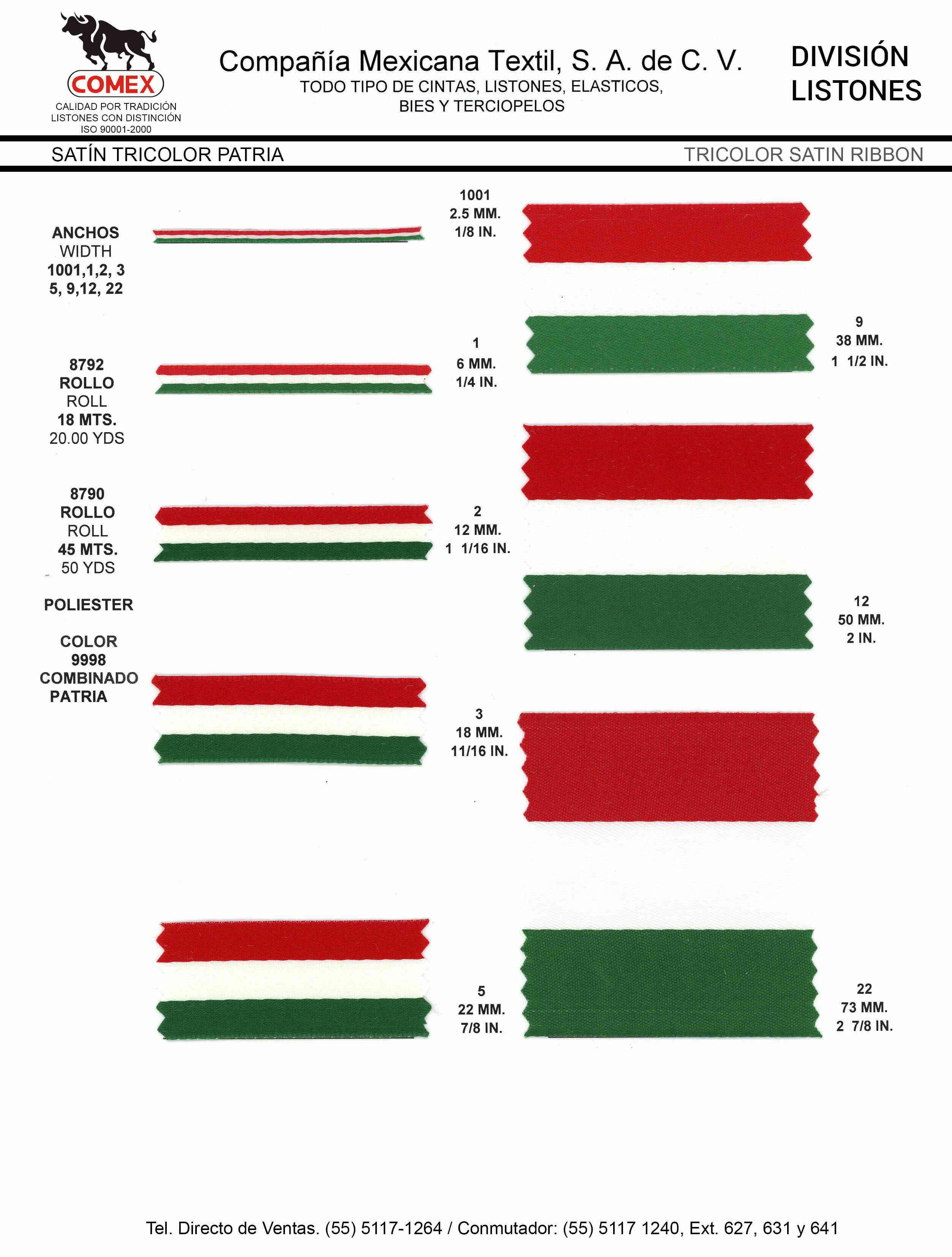 Anchos y Colores de Liston Mod.8790