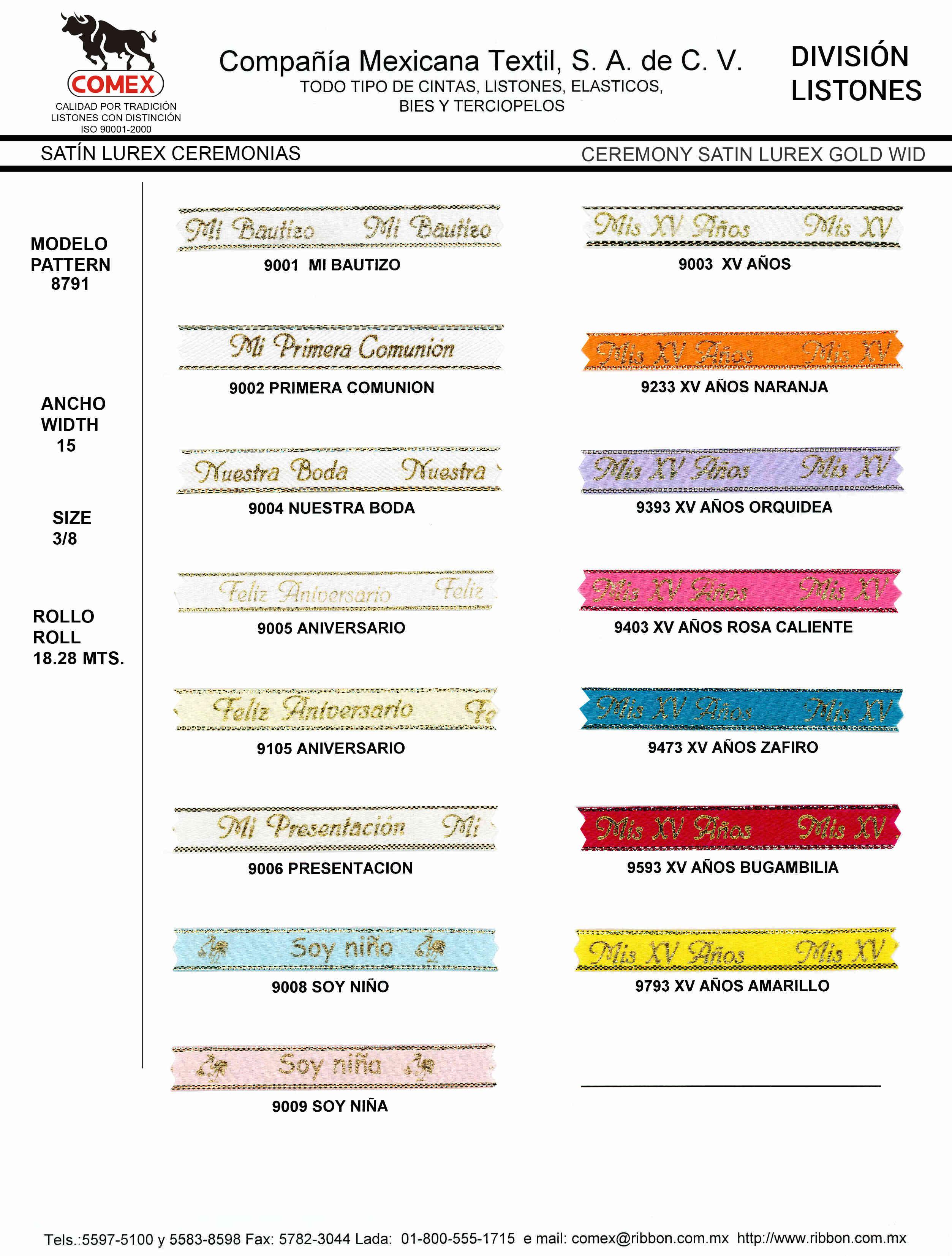 Anchos y Colores de Liston Mod.8791