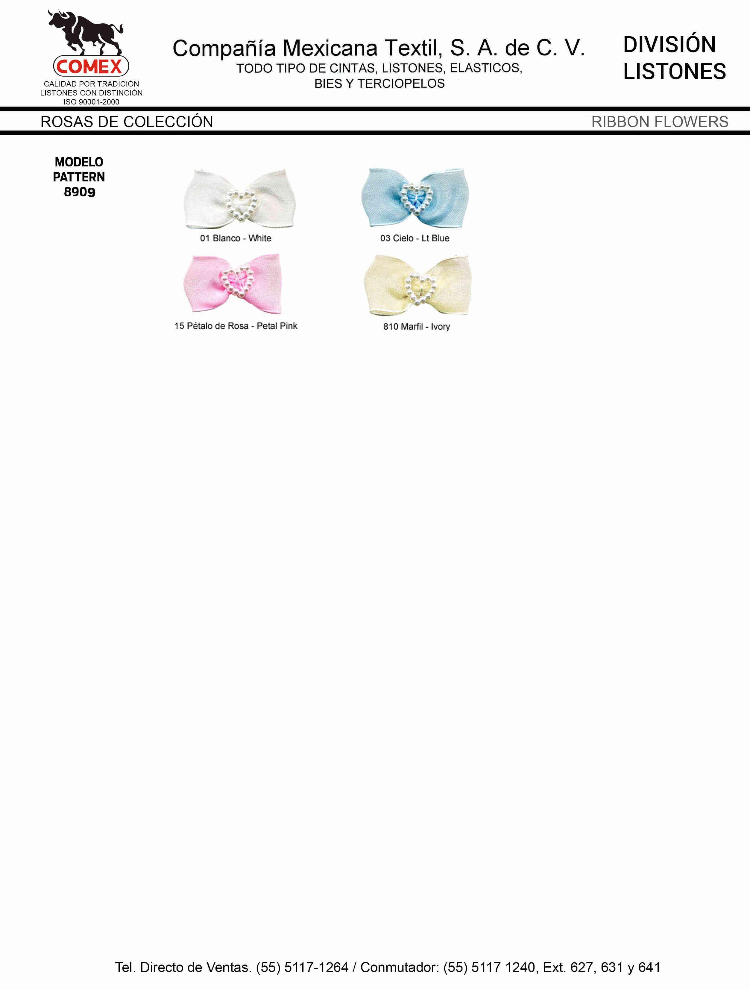 Anchos y Colores de Liston Mod.8909 72 pzas